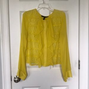 Adorable silk and lace yellow blouse